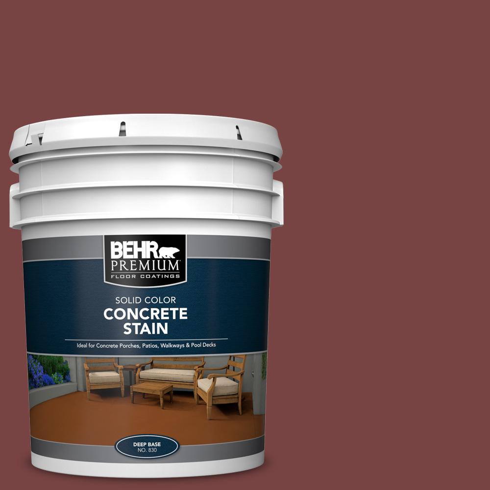 BEHR PREMIUM 5 gal. #PFC-04 Tile Red Solid Color Flat Interior/Exterior Concrete Stain