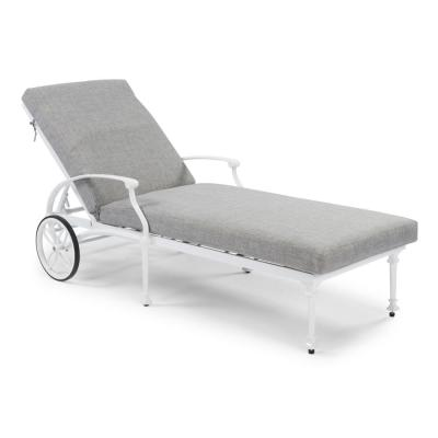 La Jolla Cast White Aluminum Outdoor Lounge Chair with Gray Cushion