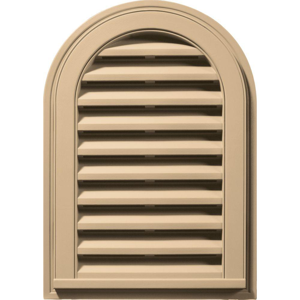 14 in. x 22 in. Round Top Gable Vent in Sandstone