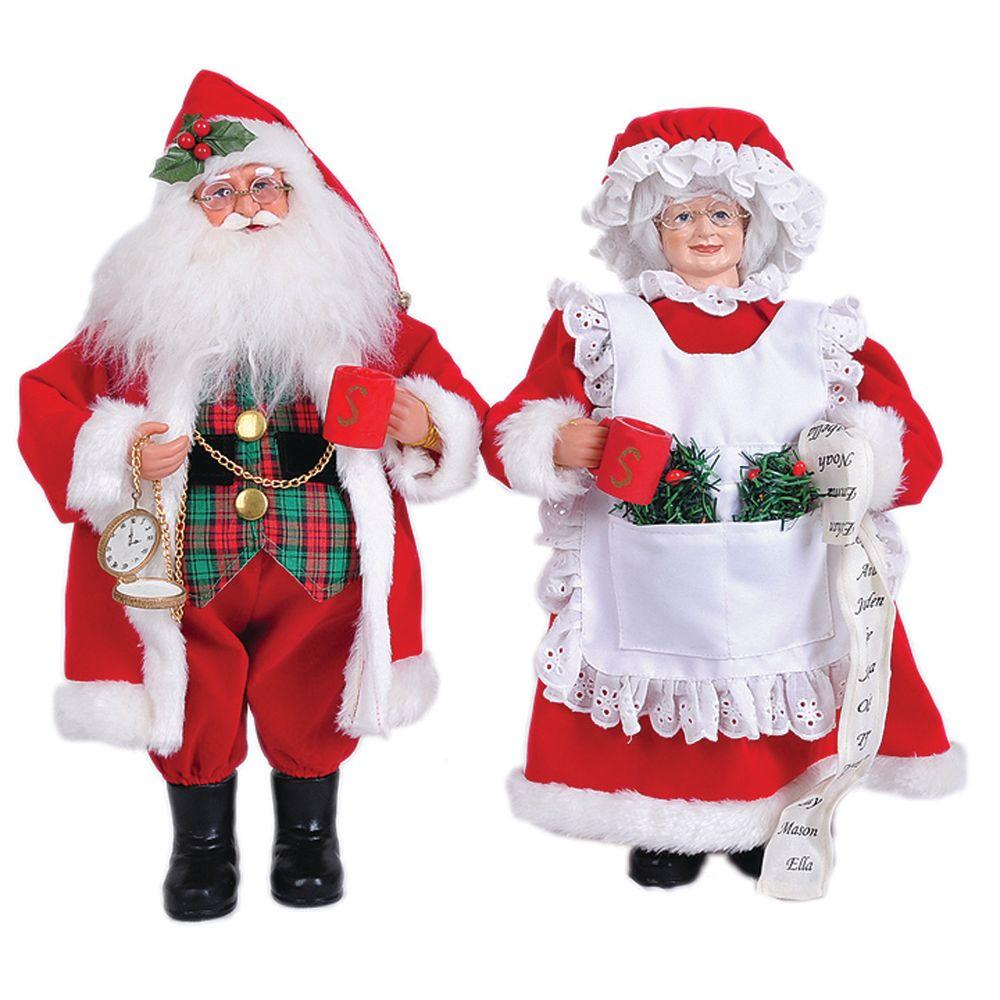 santas workshop 15 in mr and mrs claus with coffee mugs set