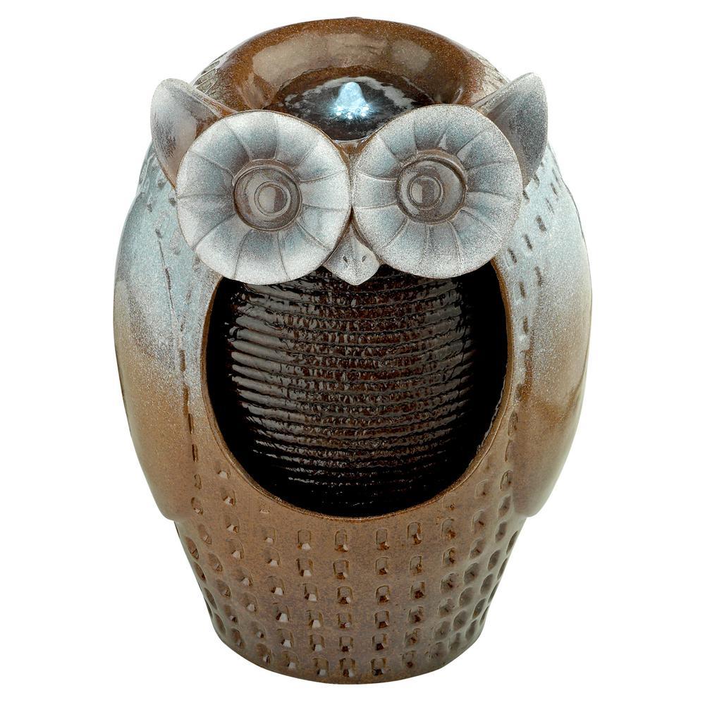 Professor Owl Cascading Ceramic Garden Fountain