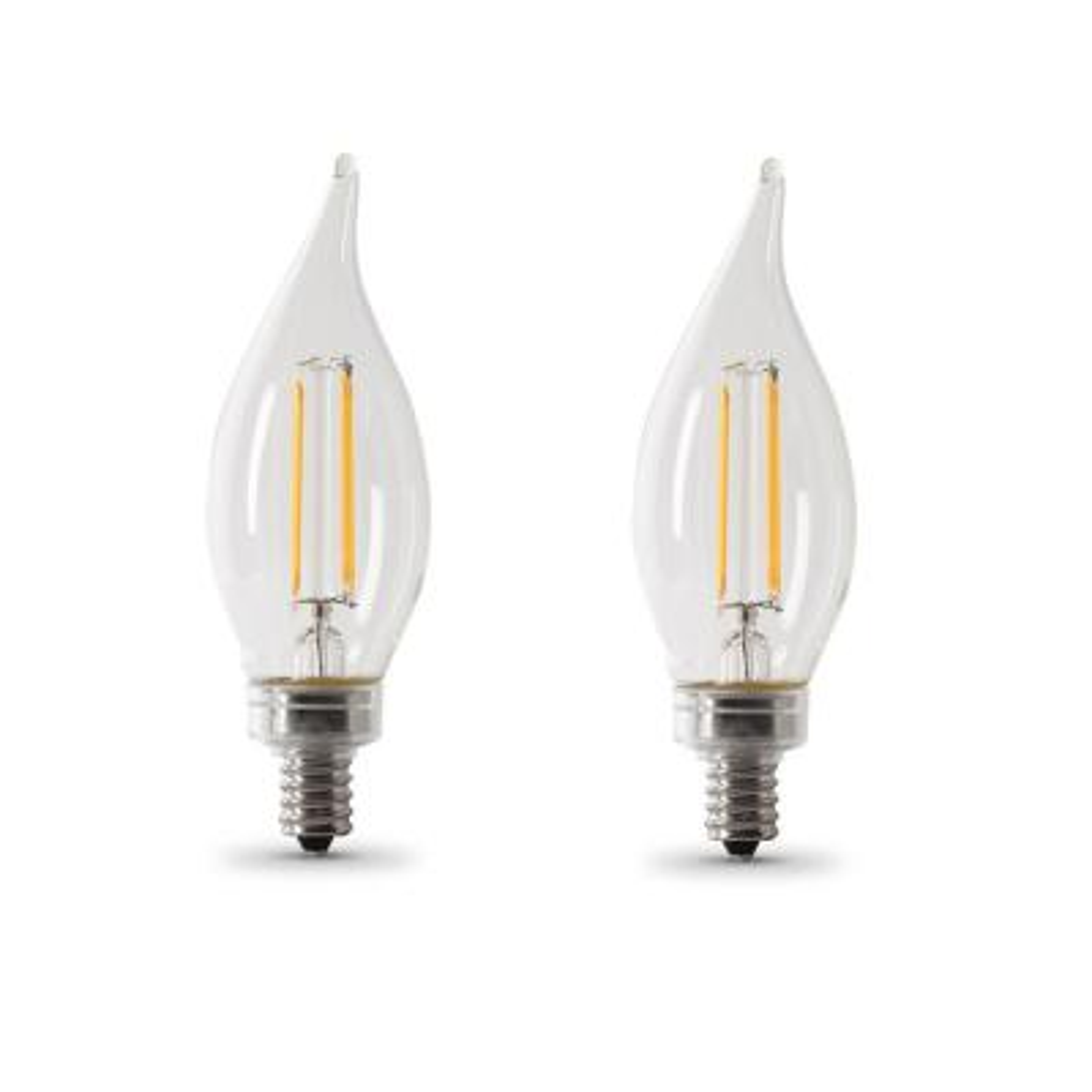 60-Watt Equivalent CA10 Candelabra Dimmable Filament CEC Clear Glass Chandelier LED Light Bulb, Daylight (2-Pack)