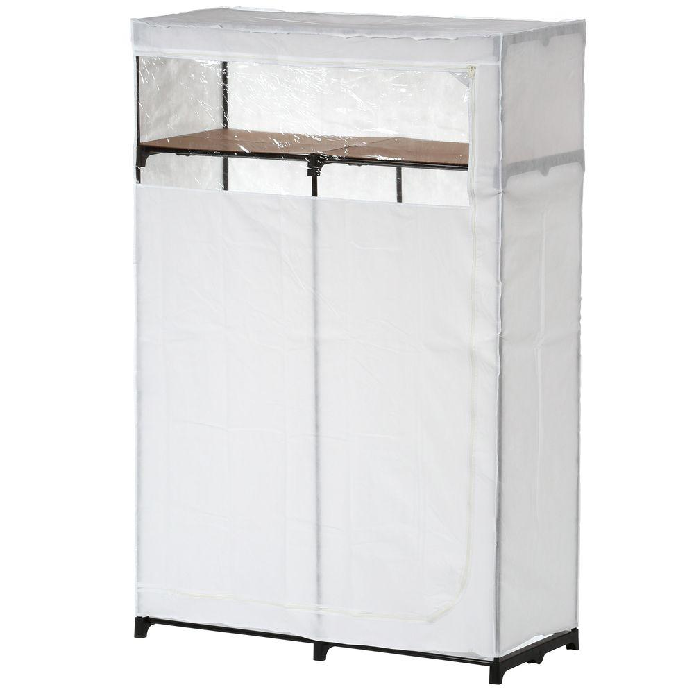D Portable Closet With Top Shelf In White
