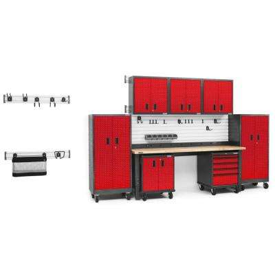 Premier Series 90 in. H x 156 in. W x 25 in. D Steel Garage Cabinet and Wall Storage System in Red Tread (18-Piece)