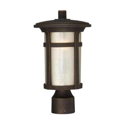 Round Craftsman 1-Light Outdoor Dark Rubbed Bronze Post Mount Lantern