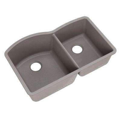 Diamond Undermount Granite 32 in. Double Bowl Kitchen Sink in Metallic Gray