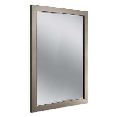 44 in. x 34 in. Modern Wall Mirror in Brushed Nickel