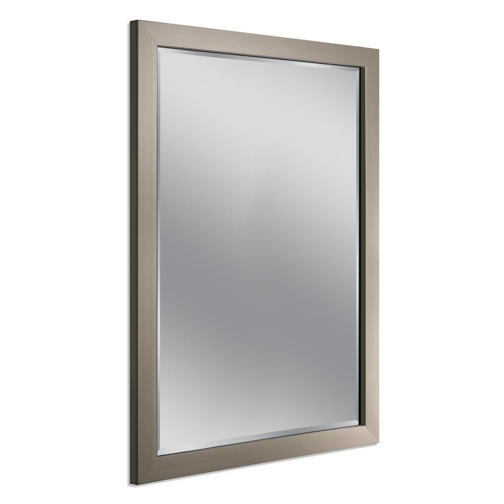 34 in. W x 44 in. H Framed Rectangular Beveled Edge Bathroom Vanity Mirror in Brush Nickel