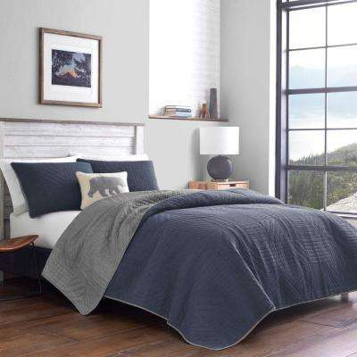 3-Piece Blue Hidden Lake Cotton Full/Queen Quilt Set