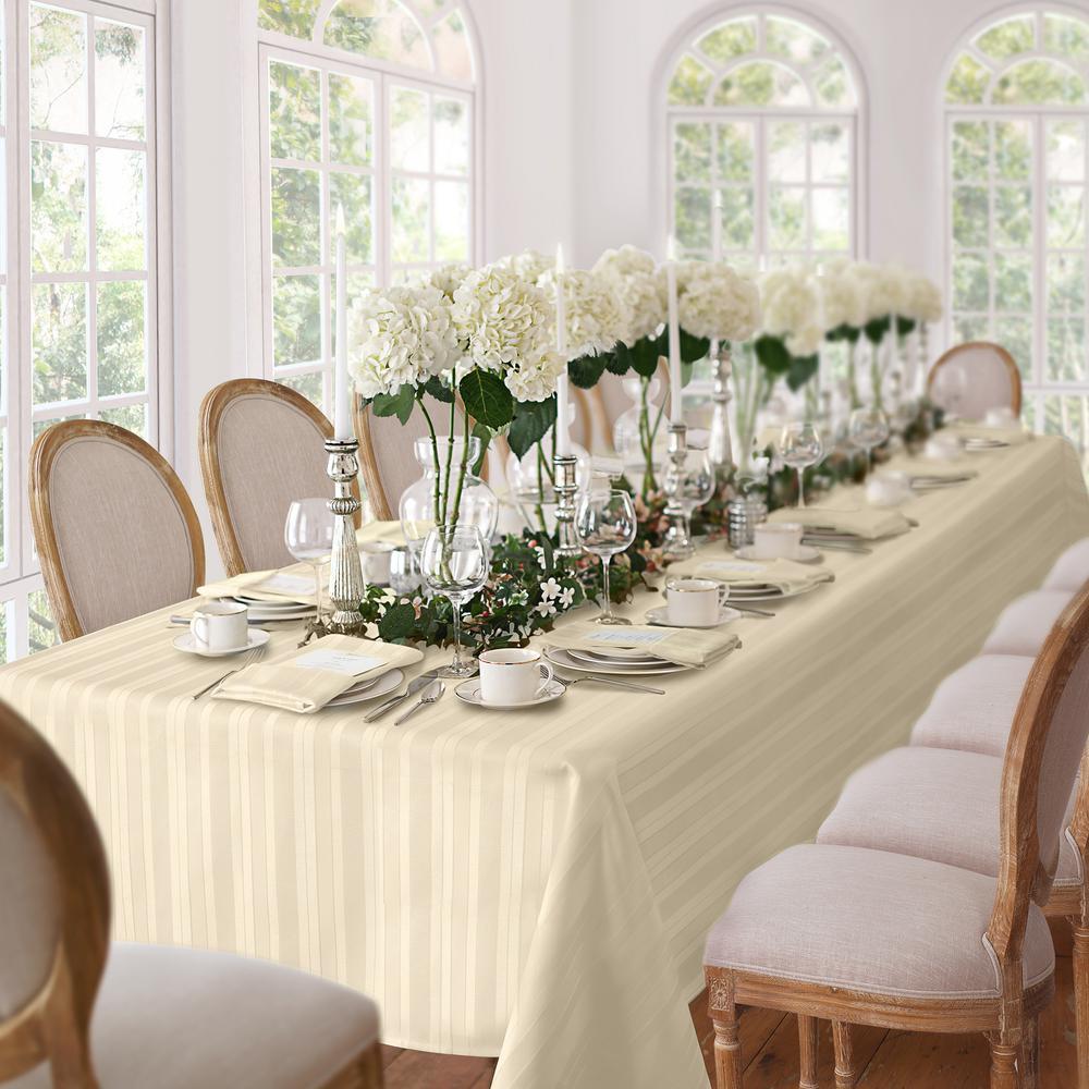 60 in. W x 84 in. L Oblong Ivory Elrene Denley Stripe Damask Fabric Tablecloth