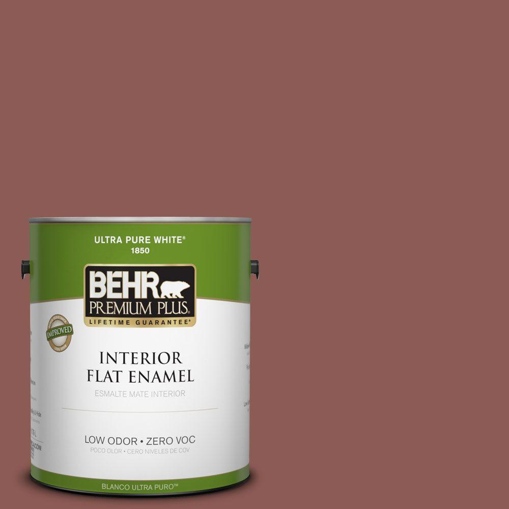 BEHR Premium Plus 1-gal. #190F-6 Bold Brick Zero VOC Flat Enamel Interior Paint-DISCONTINUED