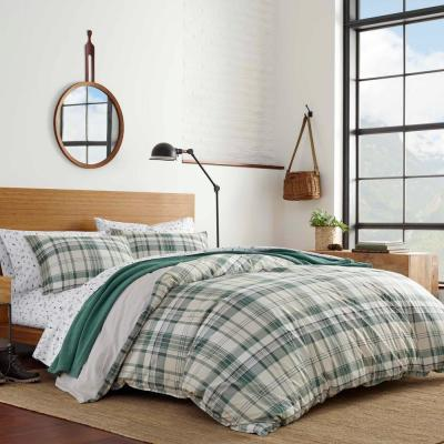 2-Piece Timbers Plaid Green Cotton Twin Comforter Set