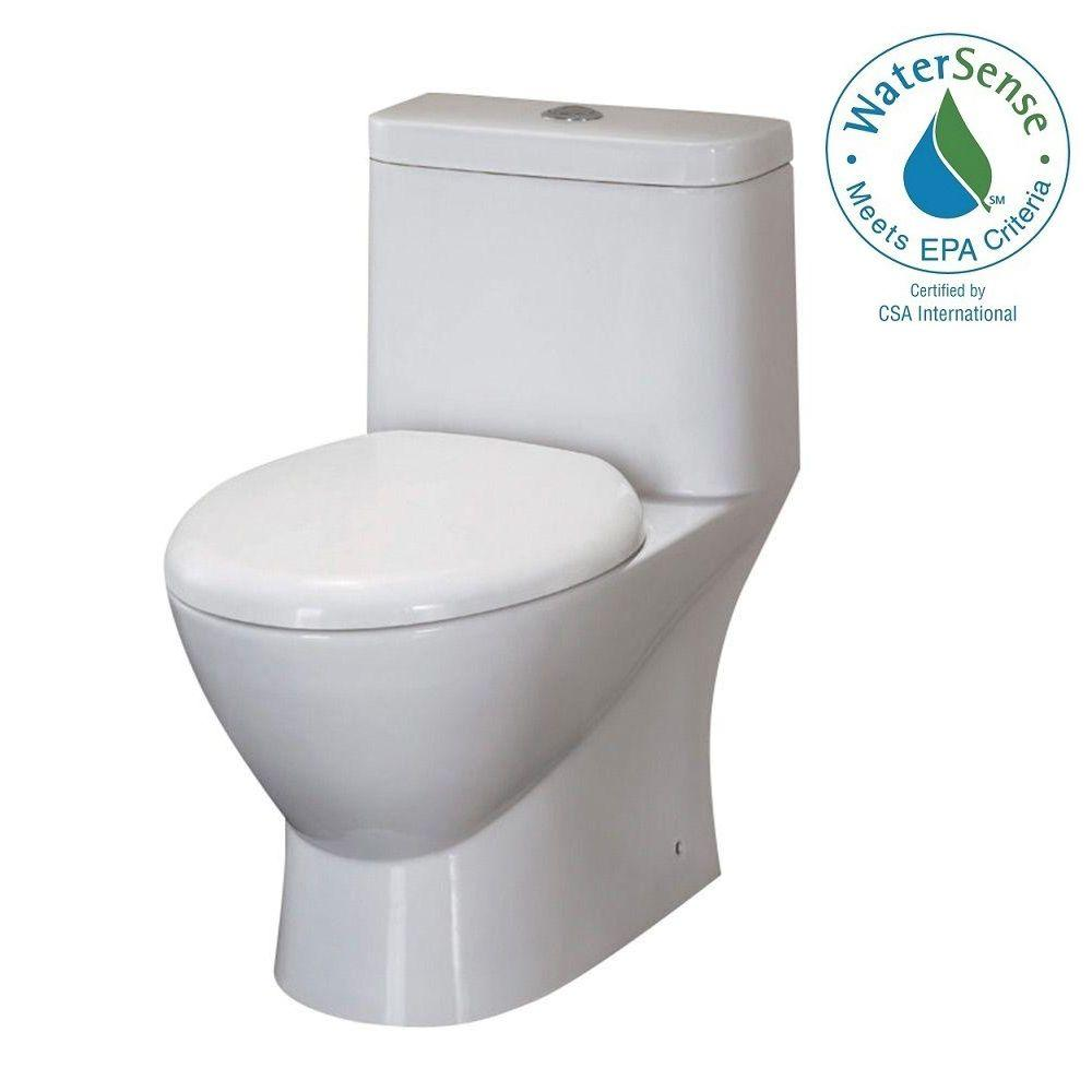 Fresca Serena 1-piece 0.8 / 1.6 GPF Dual Flush Elongated Toilet in White