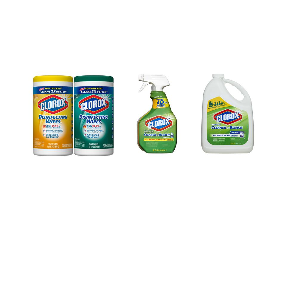 Clorox Quick Clean Bundle with Bleach Free Disinfecting Wipes, 32 oz. Bleach Spray Cleaner and 128 oz. Bleach Cleaner Refill