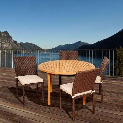 Seraphine 5-Piece Teak Round Patio Dining Set with Off-White Cushions
