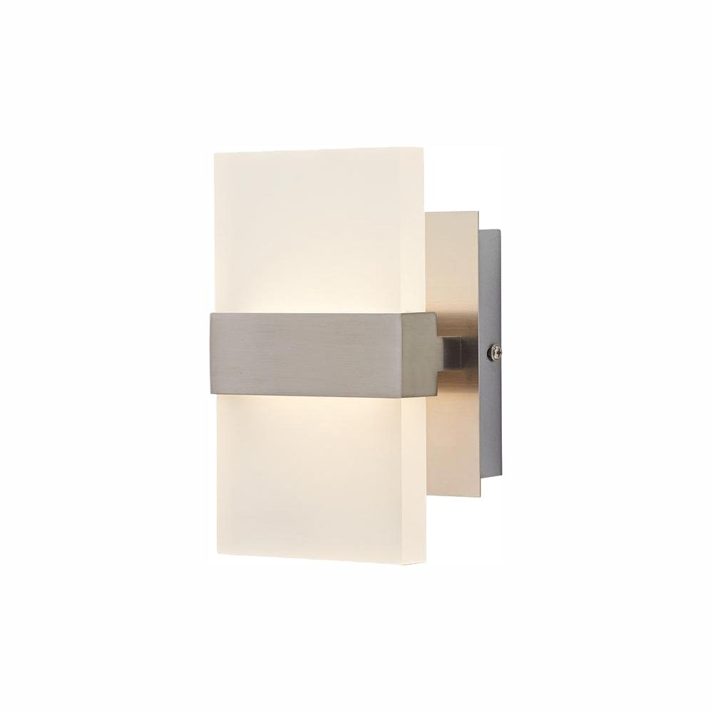Home Decorators Collection Alberson 5 in. Brushed Nickel 2-Light LED Sconce