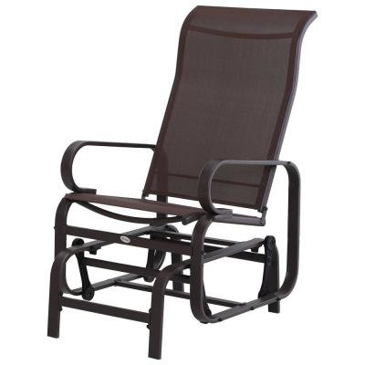 Brown Metal Swinging Glider Patio Lounging Chair with Smooth Rocking Arms and Lightweight Construction for Backyard