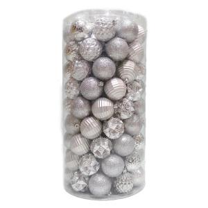 Holiday Traditions 2.3 in. Shatterproof Ornament Silver (101-Piece)