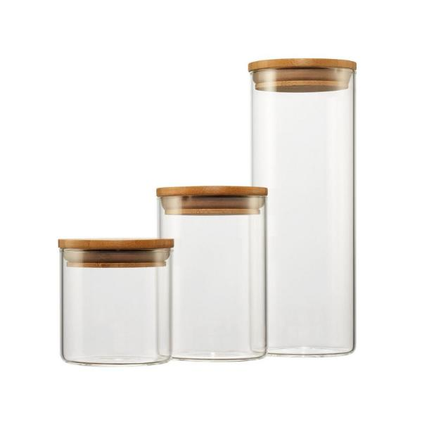 Piece Gl And Bamboo Canister Set