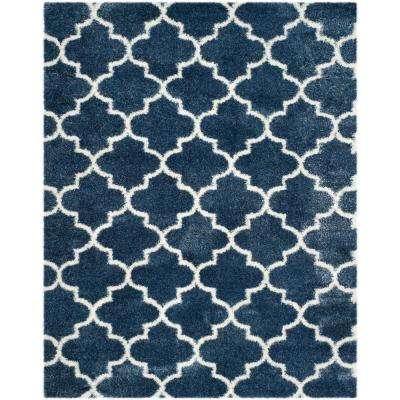 Montreal Shag Blue/Ivory 7 ft. x 10 ft. Area Rug