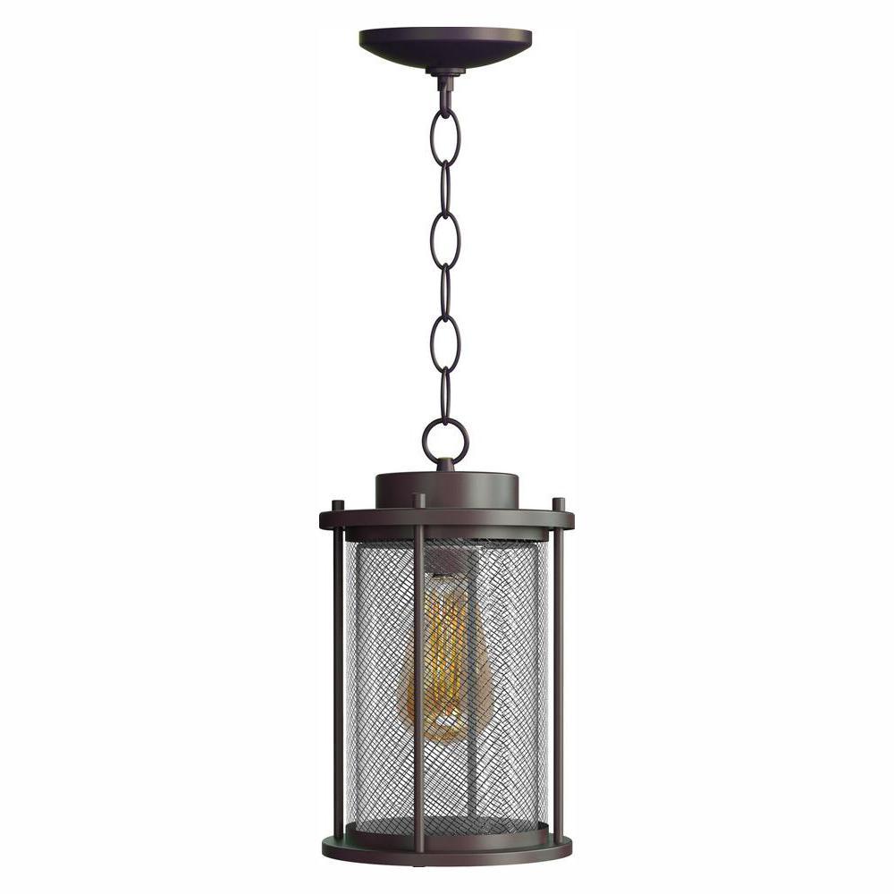 Home Decorators Collection Joelle Collection Antique Bronze Hanging Exterior Pendant Fixture with Edison LED Bulb