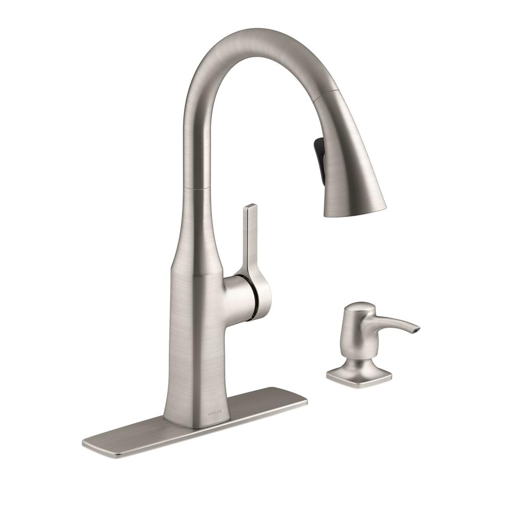 Bon KOHLER Rubicon Single Handle Pull Down Sprayer Kitchen Faucet In Vibrant  Stainless
