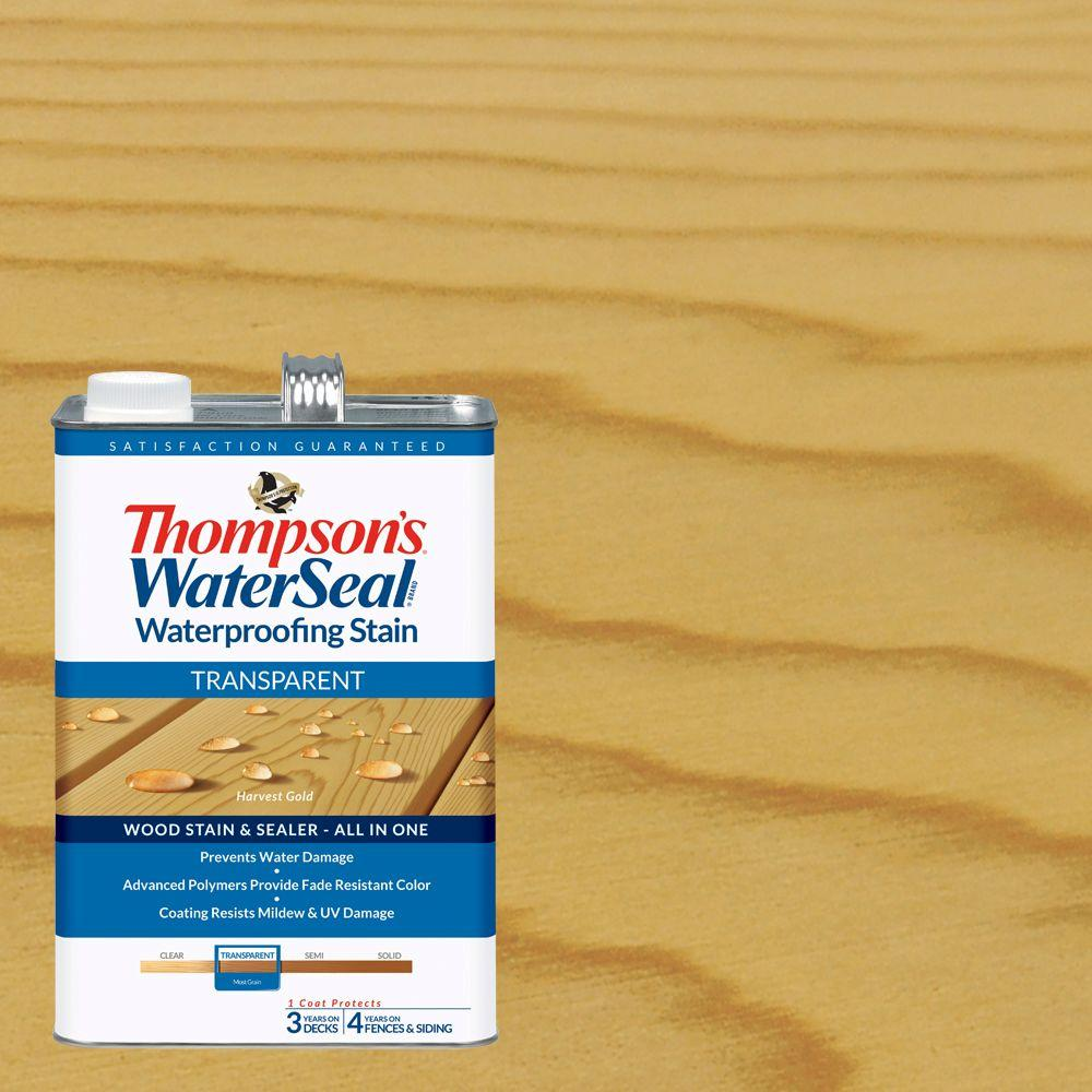 Thompson's WaterSeal 1 gal. Transparent Harvest Gold Waterproofing Stain Exterior Wood (4-Pack)