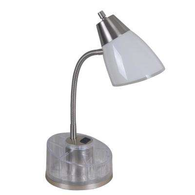 19.5 in. White and Clear Organizer Desk Lamp with Power Outlet