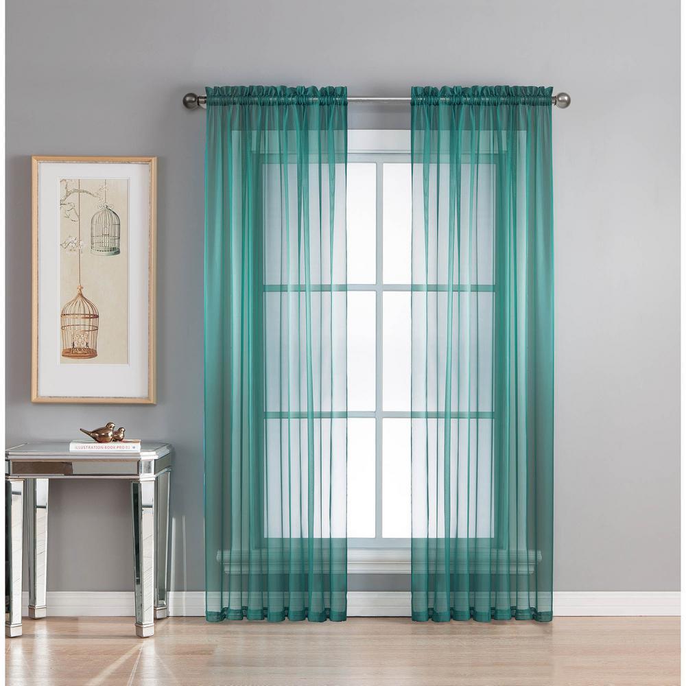 Sheer Diamond Grey Teal Rod Pocket Extra Wide Curtain Panel