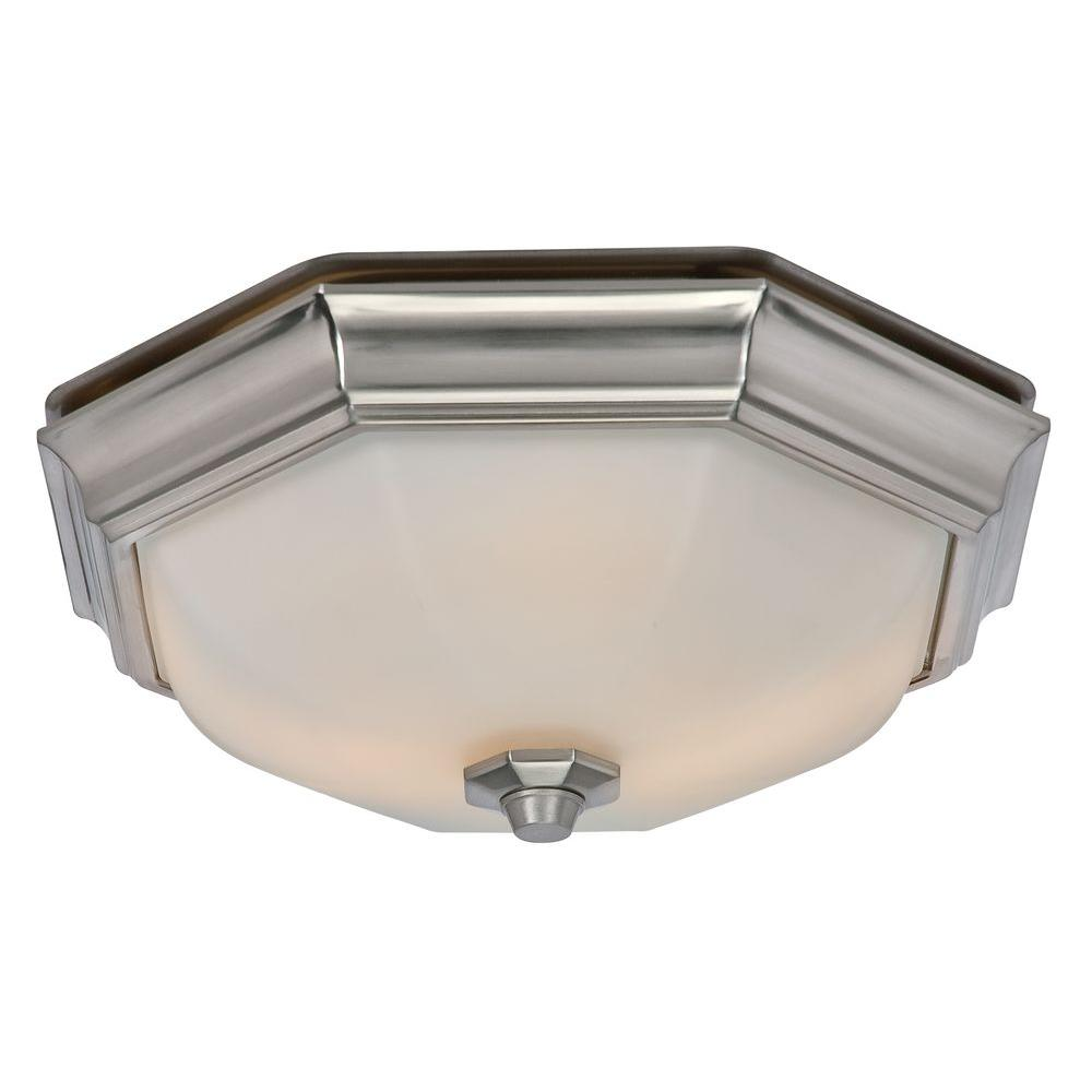 Decorative Bathroom Ceiling Lights : Hunter huntley decorative brushed nickel medium room size