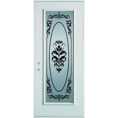 36 in. x 80 in. Silkscreened Glass Full Lite Painted White Steel Prehung Front Door