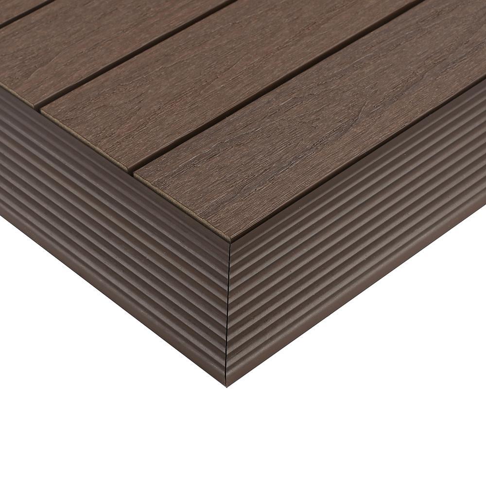 1/6 ft. x 1 ft. Quick Deck Composite Deck Tile Outside Corner Trim in Spanish Walnut (2-Pieces/Box)