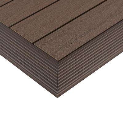 1/6 ft. x 1 ft. Quick Deck Composite Deck Tile Outside Corner Trim in Spanish Walnut (2-Pieces/box)