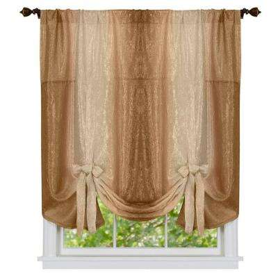 Semi-Opaque Ombre Polyester 50 in. W x 63 in. L Tie Up Shade Curtain in Sandstone