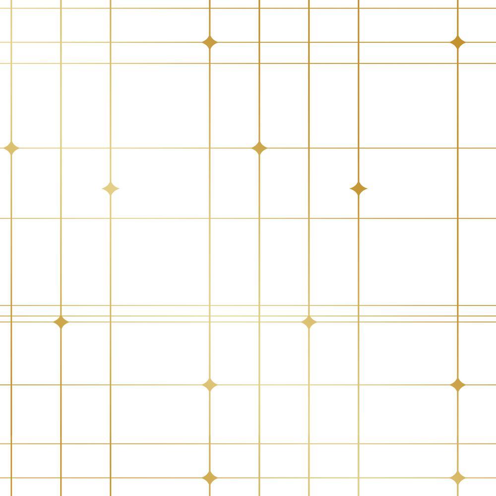 Bobby Berk Thermoscad Metallic Gold/White Self-Adhesive Removable Wallpaper