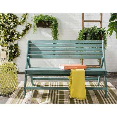 Luca 48 in. 3-Person Beach House Blue Outdoor Folding Patio Bench