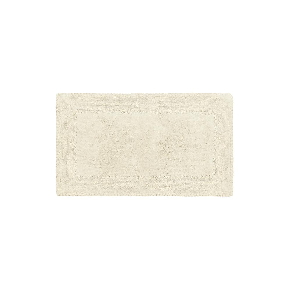Cotton Ruffle 17 in. x 24 in. Bath Rug in Ivory