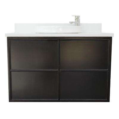 Scandi IV 37 in. W x 22 in. D Wallmount Bath Vanity in Cappuccino with Quartz Vanity Top in White with White Round Basin