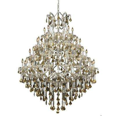 49-Light Chrome Chandelier with Golden Teak Smoky Crystal