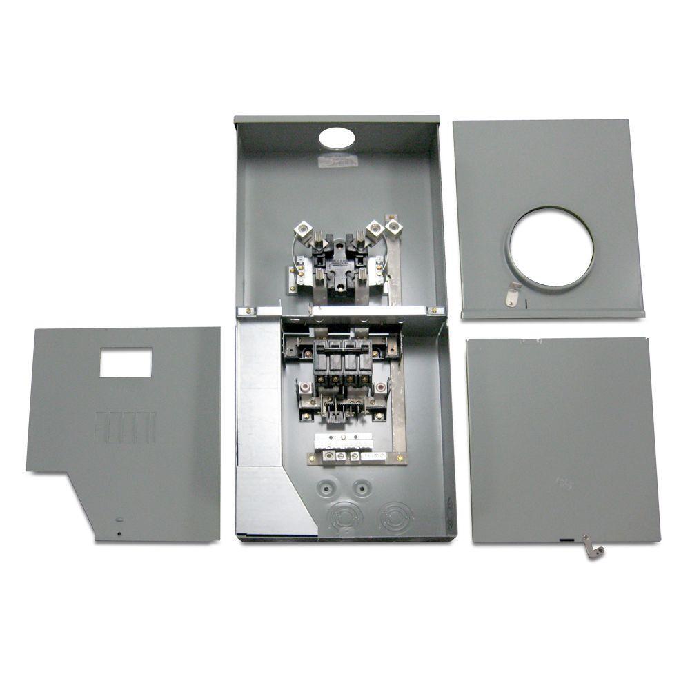 200 Amp 4 Space 8 Circuit Outdoor Combination Main Breaker/Ringless Meter Socket Load Center