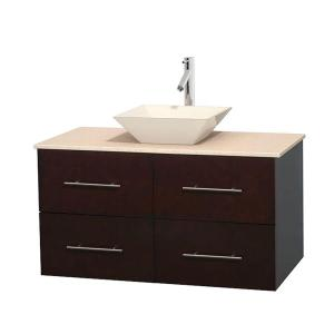 Wyndham Collection Centra 42 inch Vanity in Espresso with Marble Vanity Top in Ivory and Bone Porcelain Sink by Wyndham Collection