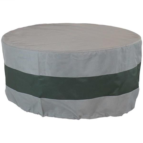 48 in. Gray/Green Stripe Round 2-Tone Outdoor Fire Pit Cover