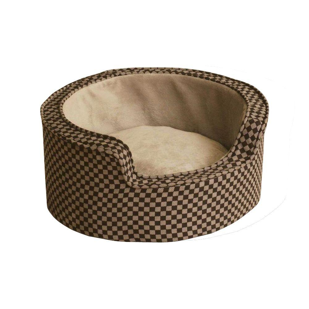 Admirable Kh Pet Products Round Comfy Sleeper Small Tan Brown Self Warming Dog Bed Squirreltailoven Fun Painted Chair Ideas Images Squirreltailovenorg