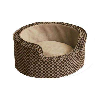 Round Comfy Sleeper Small Tan/Brown Self-Warming Dog Bed