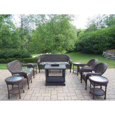 9-Piece Wicker Seating Set, 360° view fire pit, 4 Side Tables, Cushioned Sofa, Loveseat, and 2 Chairs
