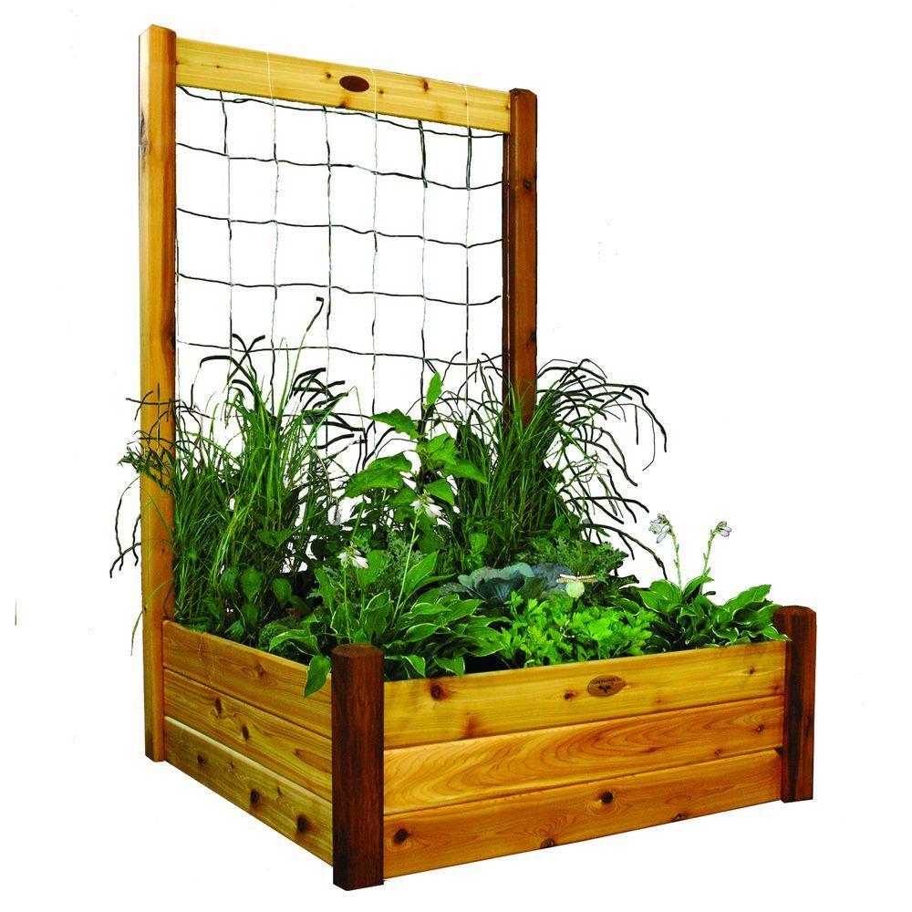 48 in. x 48 in. x 19 in. Raised Garden Bed with 48 in. W x 80 in. H Safe Finish Trellis Kit