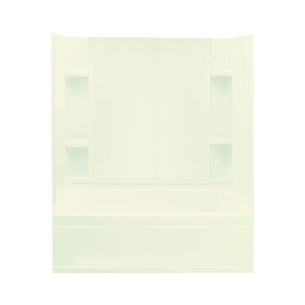 STERLING Accord 36 in. x 60 in. x 76 in. Four Piece Direct-to-Stud Bath/Shower Kit in Biscuit