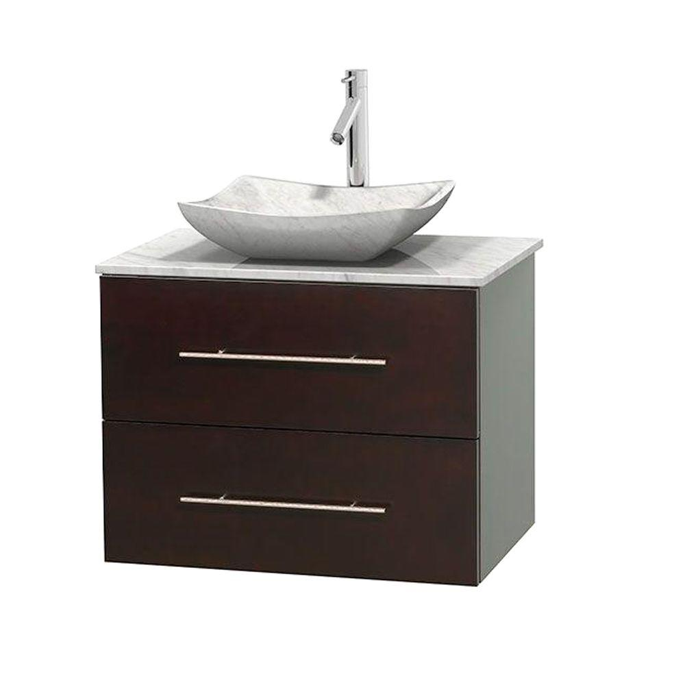 Wyndham Collection Centra 30 in. Vanity in Espresso with Marble Vanity Top in Carrara White and Sink