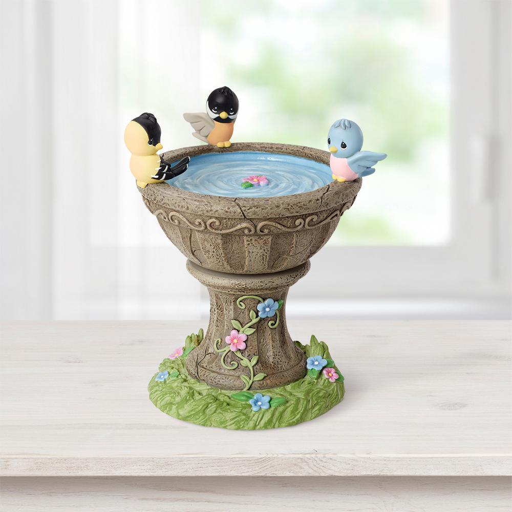 Tabletop Birdbath Resin Music Box Rotating Figurine