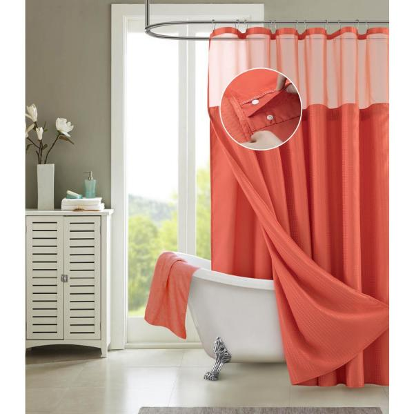 Hotel Complete 72 in. Coral Textured Waffle Shower Curtain with Detachable Liner